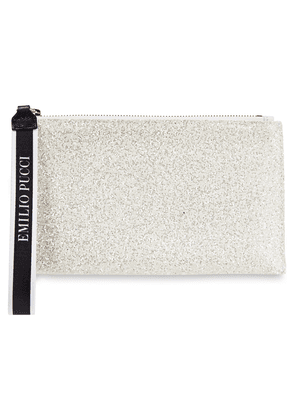 Emilio Pucci Leather-trimmed Glittered And Satin Pouch Woman Off-white Size --