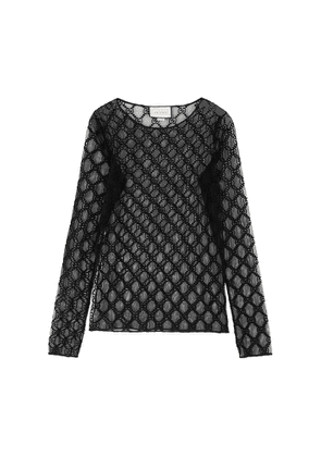Gucci Black GG-embroidered Tulle Top