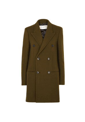 Saint Laurent Army Green Double-breasted Wool-blend Coat