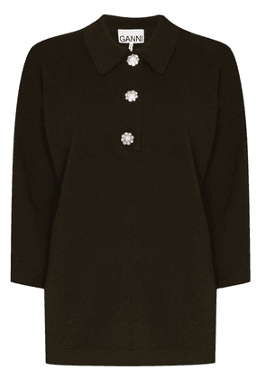 GANNI crystal-button cashmere polo top - Green