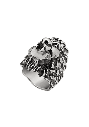 Gucci Lion head ring with crystal - Silver