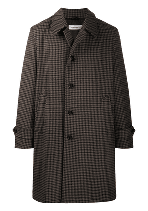 Department 5 single-breasted plaid check coat - Brown