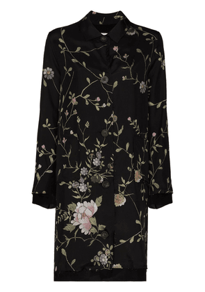 By Walid Rachel floral-embroidered silk coat - Black