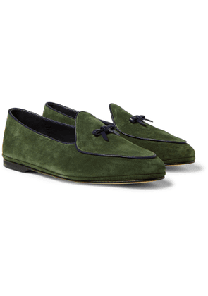 Rubinacci - Marphy Leather-Trimmed Suede Tasselled Loafers - Men - Green