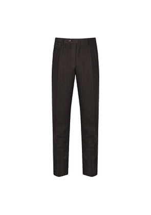 Brown and Blue Check Wool Trousers