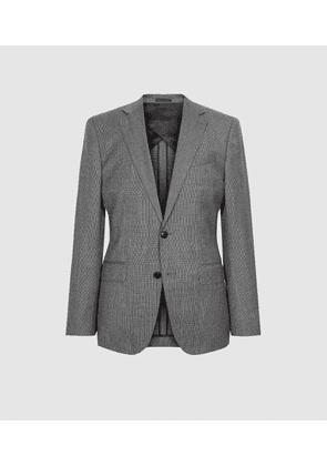 Reiss Ben - Puppytooth Check Slim Fit Blazer in Charcoal, Mens, Size 36