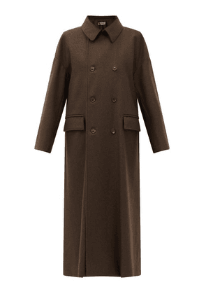 Connolly - Double-breasted Yak-wool Coat - Womens - Dark Brown