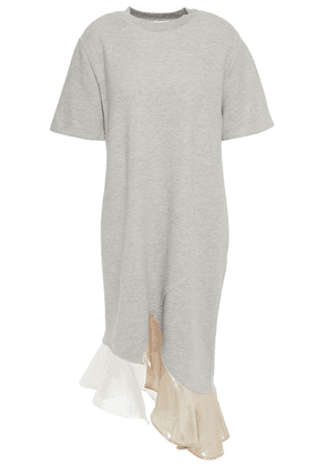 Clu Ruffled Lamé, Woven And French Cotton-blend Terry Dress Woman Stone Size XS