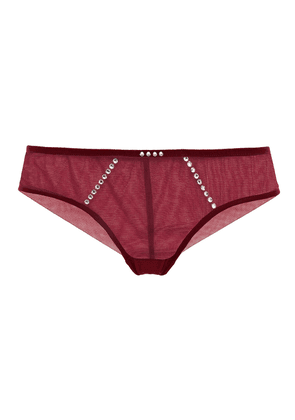 I.d. Sarrieri Crystal-embellished Stretch-tulle Low-rise Briefs Woman Burgundy Size 1