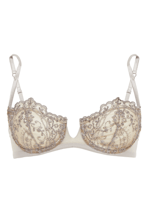 I.d. Sarrieri Embroidered Tulle Underwired Balconette Bra Woman Light gray Size 32 DD