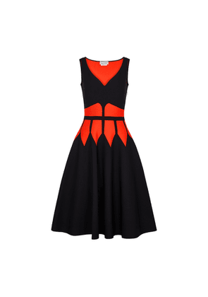 Alexander McQueen Black And Red Stretch-knit Midi Dress