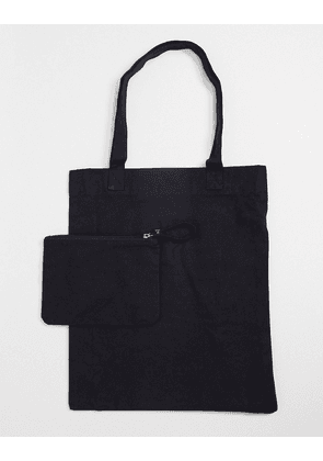 ASOS DESIGN tote bag in black canvas with detachable pouch