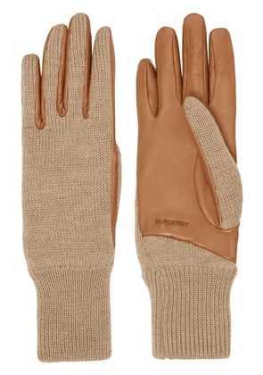 Burberry logo-embossed knit gloves - Brown