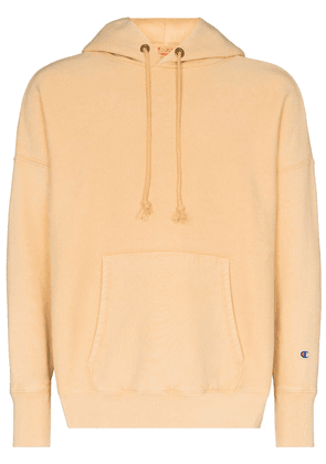 Champion logo-patch drop-shoulder hoodie - Yellow