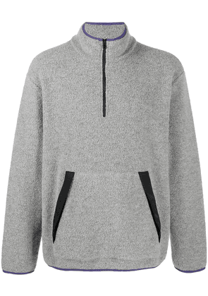 Closed zip-up knitted sweatshirt - Grey