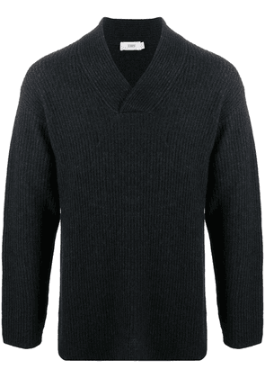 Closed chunky knitted V-neck jumper - Blue