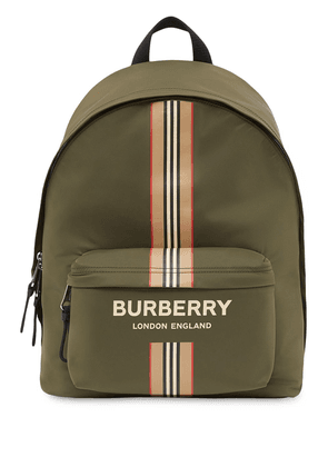Burberry logo and Icon stripe backpack - Green