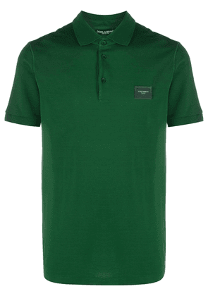 Dolce & Gabbana logo-patch polo shirt - Green