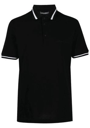 Dolce & Gabbana embroidered-logo polo shirt - Black