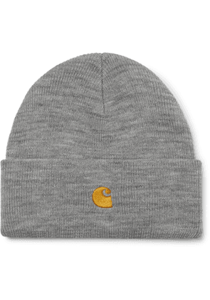 Carhartt WIP - Chase Logo-Embroidered Mélange Ribbed-Knit Beanie - Men - Gray