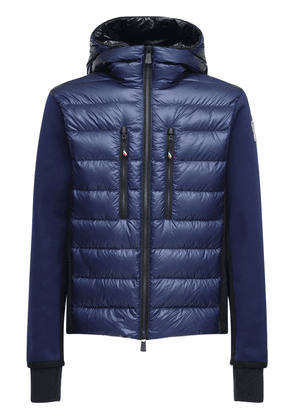 Knitted & Nylon Hooded Down Jacket