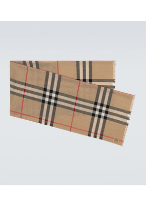 Checked wool and silk scarf