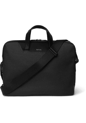 PAUL SMITH - Embroidered Leather-Trimmed Nylon Briefcase - Men - Black