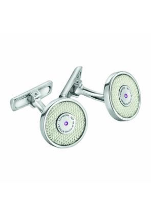 White Enamel and Sterling Silver Cufflinks
