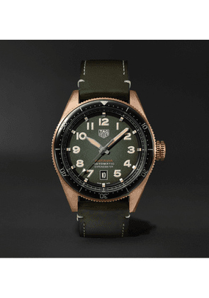 TAG Heuer - Autavia Automatic Chronometer 42mm Bronze and Leather Watch, Ref. No. WBE5190.FC8268 - Men - Green