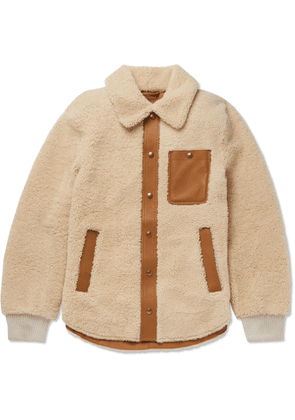Tod's - Leather-Trimmed Shearling Blouson Jacket - Men - Neutrals