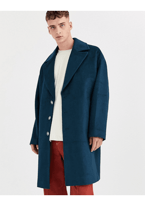 ASOS WHITE overcoat in wool mix-Blue