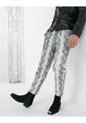 ASOS EDITION tapered trousers in grey faux leather with snake print and neon