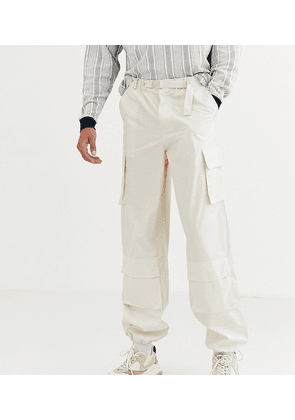 ASOS WHITE Tall wide leg cargo trousers in beige