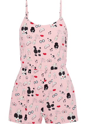Alice + Olivia + Morgan Lane Cassia Printed Stretch-jersey Playsuit Woman Pastel pink Size 12