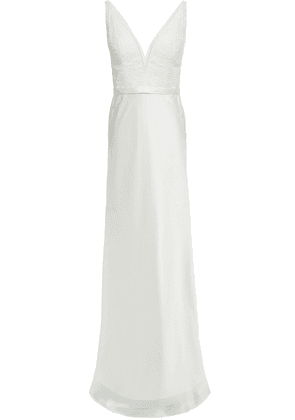 Catherine Deane Mandy Lace-paneled Stretch-satin Gown Woman Ivory Size 14