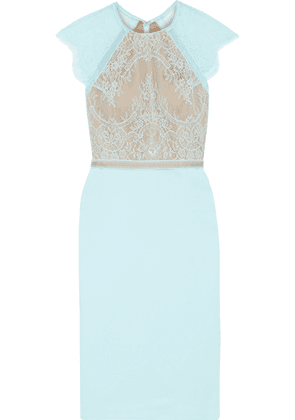 Catherine Deane Noella Crochet-trimmed Lace And Ponte Dress Woman Sky blue Size 14