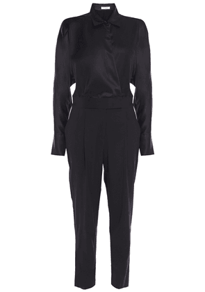 Equipment Carlens Wrap-effect Satin And Wool Jumpsuit Woman Black Size 10