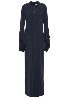 Halston Front-split Fluted Crepe Gown Woman Midnight blue Size 4