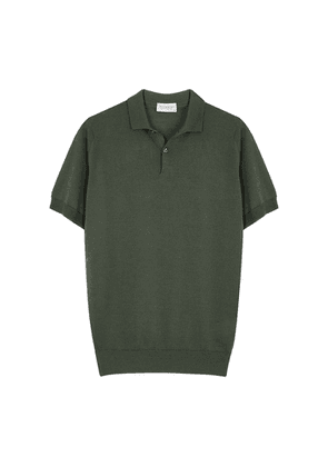 John Smedley Payton Forest Green Wool-blend Polo Shirt