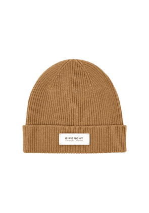 Givenchy Camel Ribbed Wool-blend Beanie