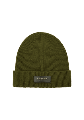 Givenchy Army Green Ribbed Wool-blend Beanie