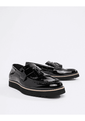 Truffle Collection Patent Tassel Loafers-Black