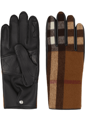 Burberry check-pattern gloves - Brown