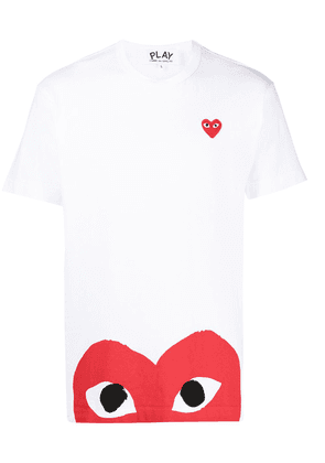 Comme Des Garçons Play embroidered logo cotton T-shirt - White
