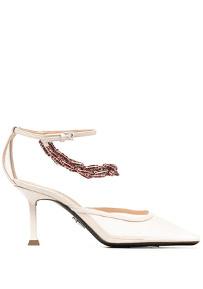 Cesare Paciotti Archive 80mm crystal-embellished sandals - Neutrals
