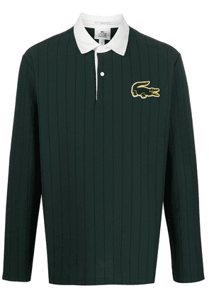 Lacoste Live logo-patch pinstripe rugby shirt - Green