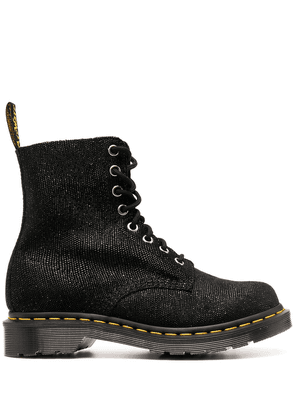 Dr. Martens lace-up glitter-effect leather boots - Black