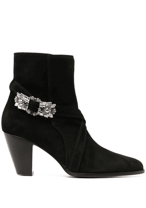 Giannico embellished buckle pointed toe boots - Black
