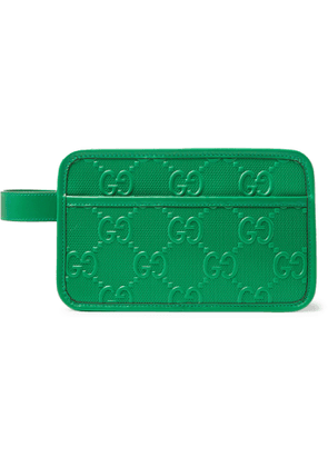 Gucci - Logo-Embossed Perforated Leather Wash Bag - Men - Green