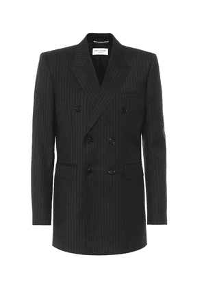 Pinstriped wool double-breasted blazer